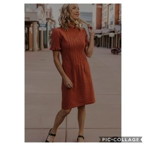 ROOLEE JESSICA ROBERTSON Odette Detail 100% Cotton Dress in Rust size Small